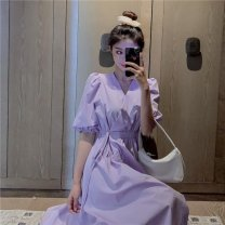 Dress Summer 2021 Purple, white S,M,L,XL,2XL longuette singleton  Short sleeve Sweet V-neck Elastic waist other other puff sleeve Others 18-24 years old Type A Other / other N40337 81% (inclusive) - 90% (inclusive) other polyester fiber solar system