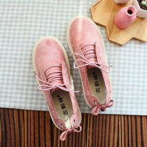 Low top shoes 35 36 37 38 39 40 Other / other Pink Khaki Round head Flat heel Suede Midmouth Low heel (1-3cm) cloth Spring of 2018 Frenulum Mori Adhesive shoes Youth (18-40 years old) Solid color rubber cloth daily eight thousand eight hundred and eighty-five Frosting