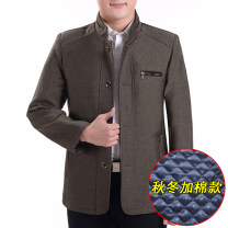 Jacket Other / other Business gentleman thick standard Home winter Long sleeves Wear out stand collar Business Casual middle age routine Single breasted 2018 No iron treatment More than two bags) Side seam pocket