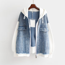 short coat Spring 2021 Average size White, pink Long sleeves have cash less than that is registered in the accounts routine Fake two pieces Straight cylinder commute routine Hood zipper other 18-24 years old 96% and above other