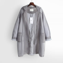 Windbreaker Spring 2021 Average size Long sleeves Thin money Medium length commute zipper Hood routine Solid color Straight cylinder Korean version 18-24 years old 96% and above