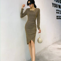 Dress Winter 2020 Black, gold S,M,L Middle-skirt singleton  Long sleeves commute Crew neck High waist Solid color Socket Irregular skirt routine Others 25-29 years old Type H Miyuki  Panel, zipper SS9982 81% (inclusive) - 90% (inclusive) brocade polyester fiber