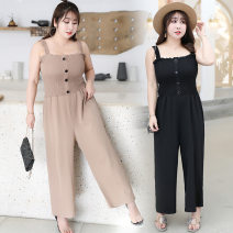 Casual pants Black, brown XL,2XL,3XL,4XL Summer of 2019 trousers rompers Natural waist Other styles 25-29 years old ST5216 My love other straps spandex