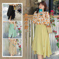 skirt Summer 2021 Medium length skirt Natural waist commute Solid color 25-29 years old Other / other W404 40. 4XL, XXL elastic waist, XXXL elastic waist Black, milkshake yellow, mint green, wheat apricot