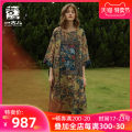 Dress Spring 2021 Decor S M L XL longuette singleton  Long sleeves commute Crew neck Loose waist Decor Socket A-line skirt routine 30-34 years old Type A Jiqiu Gul Patchwork printing More than 95% hemp Ramie 100% Same model in shopping mall (sold online and offline)