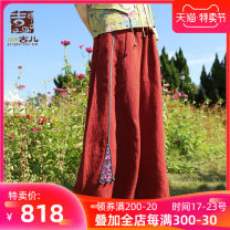 Casual pants Brick red S M L XL Spring 2021 trousers Wide leg pants Natural waist commute routine 25-29 years old G211K012 Jiqiu Gul hemp pocket hemp Flax 100% Same model in shopping mall (sold online and offline) Asymmetry