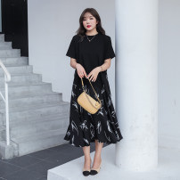Women's large Summer 2020 black Dress singleton  commute thin Socket Short sleeve Decor Korean version Crew neck Medium length polyester Three dimensional cutting other 30-34 years old fungus Medium length Ruffle Skirt Lotus leaf edge