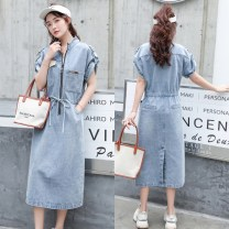 Dress Summer 2020 wathet M,L,XL Mid length dress singleton  Short sleeve commute stand collar middle-waisted Solid color zipper One pace skirt routine 25-29 years old Type H Other / other Korean version Zipper, lace up, pocket 91% (inclusive) - 95% (inclusive) Denim cotton