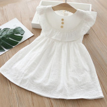 Dress white female 90cm,100cm,110cm,120cm,130cm Other 100% summer lady Skirt / vest other Cotton and hemp Lotus leaf edge Class B 2 years old, 3 years old, 4 years old, 5 years old, 6 years old, 7 years old Chinese Mainland Guangdong Province Foshan City