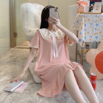 Nightdress Other / other MBN_ V5670 short sleeve skirt pink, MBN_ V5670 short sleeve skirt red, MBN_ V5670 short sleeve skirt yellow, MBN_ V5670 short sleeve skirt blue M. L, XL, XXL, small gift from collection shop, 2 yuan discount for two pieces Sweet Short sleeve pajamas Middle-skirt summer youth