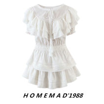 Dress Summer 2021 White 9509 S,M,L Short skirt singleton  Short sleeve Sweet Crew neck middle-waisted Solid color Socket Ruffle Skirt Lotus leaf sleeve 51% (inclusive) - 70% (inclusive) other cotton princess