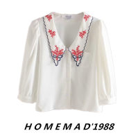 shirt White 21022 S,M,L Summer 2021 Cellulose acetate 31% (inclusive) - 50% (inclusive) three quarter sleeve commute Short style (40cm < length ≤ 50cm) other Single row multi button puff sleeve Solid color Retro blending