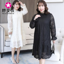 Dress Spring 2020 Black apricot white XL XXL XXXL 4XL Mid length dress singleton  Long sleeves commute stand collar routine Others 25-29 years old Fat girl lady More than 95% polyester fiber Polyester 100% Pure e-commerce (online only)