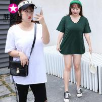T-shirt XL XXL XXXL 4XL Summer 2020 Short sleeve Crew neck easy Regular routine commute cotton 86% (inclusive) -95% (inclusive) Korean version Fat girl Cotton 95% polyurethane elastic fiber (spandex) 5% Pure e-commerce (online only)