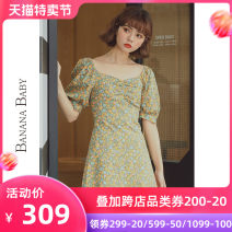 Dress Summer 2020 Yellow flower L S M Short skirt singleton  Short sleeve commute square neck High waist Broken flowers Socket puff sleeve 25-29 years old BANANA BABY printing D202LY405 More than 95% cotton Cotton 100% Pure e-commerce (online only)