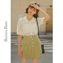 skirt Summer 2020 S M L Green Grid Short skirt commute High waist A-line skirt Solid color 25-29 years old 51% (inclusive) - 70% (inclusive) BANANA BABY polyester fiber zipper Pure e-commerce (online only)