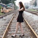 Dress Summer of 2018 black XS,S,M,L Short skirt singleton  Sleeveless commute stand collar High waist Solid color zipper Big swing routine Hanging neck style Type A Qilinman Korean version Bowknot, lace, stitching, bandage, 3D QLM-1010 31% (inclusive) - 50% (inclusive) knitting cotton