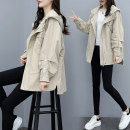 Windbreaker Spring 2021 S,M,L,XL,2XL Khaki, black Long sleeves routine Medium length commute zipper Hood raglan sleeve Solid color Korean version Khaki trench coat Pleating, taping, pocket, lace up, stitching, strap, button, zipper 31% (inclusive) - 50% (inclusive)