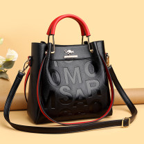 Bag handbag PU Tote Bag Other / other brand new European and American fashion in leisure time soft zipper yes letter Double root Yes middle age Vertical square Embossing Soft handle polyester cotton synthetic leather Open your pocket