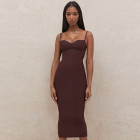 Dress Summer 2021 coffee S,M,L longuette singleton  Sleeveless commute V-neck High waist Solid color Socket One pace skirt routine camisole 25-29 years old Type H backless 81% (inclusive) - 90% (inclusive) knitting cotton
