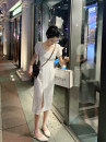 Dress Summer 2021 white S,M,L,XL Mid length dress singleton  Short sleeve commute square neck High waist Solid color Socket A-line skirt routine Others Korean version polyester fiber