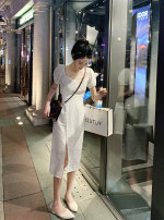 Dress Summer 2021 white S,M,L,XL Mid length dress singleton  Short sleeve commute square neck High waist Solid color Socket A-line skirt routine Others Korean version polyester fiber
