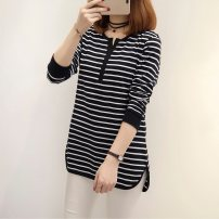 T-shirt 157 (black stripe) 157 (blue stripe) M L XL XXL Fall 2017 Long sleeves V-neck easy Medium length routine commute other 96% and above 18-24 years old Korean version classic Color matching with thin horizontal stripes Immortal element Other 100% Pure e-commerce (online only)