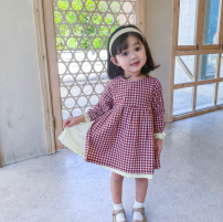 Dress Red check, black check female Other / other 80cm,90cm,100cm,110cm,120cm,130cm Cotton 70% polyethylene terephthalate (polyester) 30% spring and autumn Korean version Long sleeves lattice cotton Pleats Class A Chinese Mainland