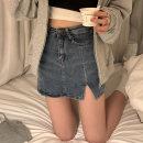 skirt Spring 2021 S,M,L,XL wathet Short skirt commute skirt Type H Denim other Korean version