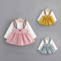 Dress Pink yellow light blue Zhou dada female 90cm 100cm 110cm 120cm 130cm Other 100% spring and autumn Versatile Long sleeves other Splicing style one thousand nine hundred and seven Class B