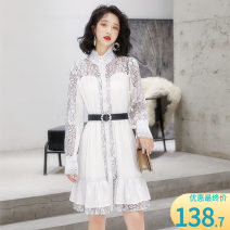Dress Autumn 2020 black M,L,XL,2XL Mid length dress singleton  Long sleeves commute High collar High waist Solid color Single breasted Big swing other Others Type X Other / other Korean version Lace More than 95% Lace other