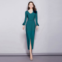 Dress Spring 2021 Black, peacock green 6,8,10,12,14 longuette singleton  Long sleeves commute other middle-waisted Solid color zipper Irregular skirt Lotus leaf sleeve Others 30-34 years old Type X RAVISH LUMINOUS Ol style AF517 More than 95% knitting other