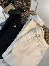 Jeans Winter 2020 Black, apricot S,M,L,XL,2XL trousers High waist Haren pants thickening 18-24 years old Cotton elastic denim light colour