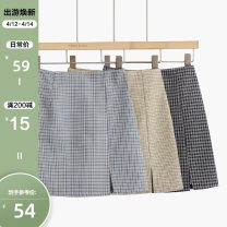 skirt Spring 2021 S,M,L,XL Black skirt, blue skirt, apricot skirt Short skirt commute High waist A-line skirt stripe Type A 25-29 years old 2101B-048 More than 95% other Other / other other Korean version