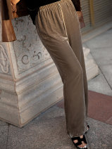 Casual pants Brown S,M,L Spring 2021 trousers Straight pants street 96% and above YD17HTTZ712 Tang Town Europe and America