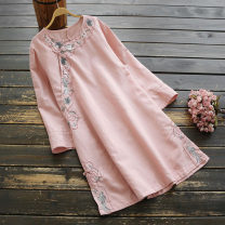 Dress Spring 2021 White, pink, light blue Single code Short skirt singleton  Long sleeves commute Crew neck Loose waist Broken flowers Socket A-line skirt pagoda sleeve Others 25-29 years old Type A yoko girl ethnic style Embroidery More than 95% hemp