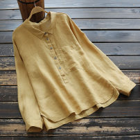 shirt Yellow, blue, red, white Single code Spring 2021 hemp 51% (inclusive) - 70% (inclusive) Long sleeves commute Regular Polo collar Socket routine Solid color 25-29 years old yoko girl Simplicity Pocket, button Cotton and hemp