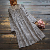 Dress Spring 2021 Black grid, orange grid, red grid Average size Middle-skirt singleton  Long sleeves commute Doll Collar middle-waisted lattice Single breasted A-line skirt Others 30-34 years old Type A yoko girl literature Pocket, lace More than 95% other cotton