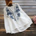 shirt routine Embroidery hemp 96% and above hemp Spring 2020 Long sleeve commute Regular payment V-neck other Condom 25-29 years old Retro yoko girl Single code White, dark blue