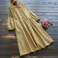 Dress Spring 2021 Single code Mid length dress singleton  Long sleeves commute Doll Collar middle-waisted Solid color Socket A-line skirt routine Others 25-29 years old Type A literature More than 95% other hemp