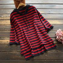 Wool knitwear Spring 2021 Average size Khaki, red, white elbow sleeve singleton  Socket nylon 30% and below Medium length routine commute easy Hood routine stripe Socket Korean version 30-34 years old yoko girl Frenulum