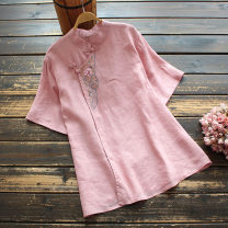 shirt Pink, peacock blue, white Average size Summer 2021 hemp 96% and above Short sleeve commute Regular stand collar Socket routine Broken flowers 35-39 years old yoko girl Retro Embroidery flax