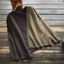 Wool knitwear Spring 2021 Average size Brown, Navy Long sleeves singleton  Cardigan nylon 30% and below Regular routine commute easy routine Color matching Socket literature 30-34 years old yoko girl
