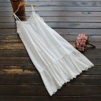 Dress Summer 2020 White, black Single code Mid length dress singleton  Sleeveless Sweet middle-waisted Solid color Socket A-line skirt camisole 25-29 years old Type A yoko girl More than 95% cotton Mori