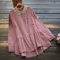 shirt Red, black Average size Spring 2021 cotton 51% (inclusive) - 70% (inclusive) Long sleeves commute Regular Doll Collar Single row multi button routine lattice 30-34 years old yoko girl literature Lace Cotton and hemp
