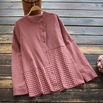 shirt Black grid, coffee grid, red grid Average size Spring 2021 cotton 51% (inclusive) - 70% (inclusive) Long sleeves commute Regular stand collar Single row multi button routine lattice 30-34 years old yoko girl literature Cotton and hemp
