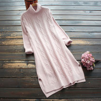 Dress Spring 2021 Pink Average size Middle-skirt singleton  Long sleeves commute High collar Loose waist Solid color Socket other routine 30-34 years old Type H yoko girl Korean version 30% and below other nylon