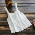 Vest sling Summer 2020 White, black, blue Single code singleton  routine easy commute other Solid color 25-29 years old 96% and above cotton yoko girl Embroidery / embroidery