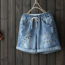 Jeans Summer 2020 Denim blue M,L,XL,XXL shorts Natural waist Straight pants routine 25-29 years old yoko girl 96% and above