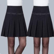 skirt Autumn of 2019 Waist 2 feet, waist 2 feet 1, waist 2 feet 2, waist 2 feet 3, waist 2 feet 4, waist 2 feet 5, waist 2 feet 6, waist 2 feet 7, waist 2 feet 8 black Middle-skirt Versatile Natural waist A-line skirt Solid color Type A Wool zipper
